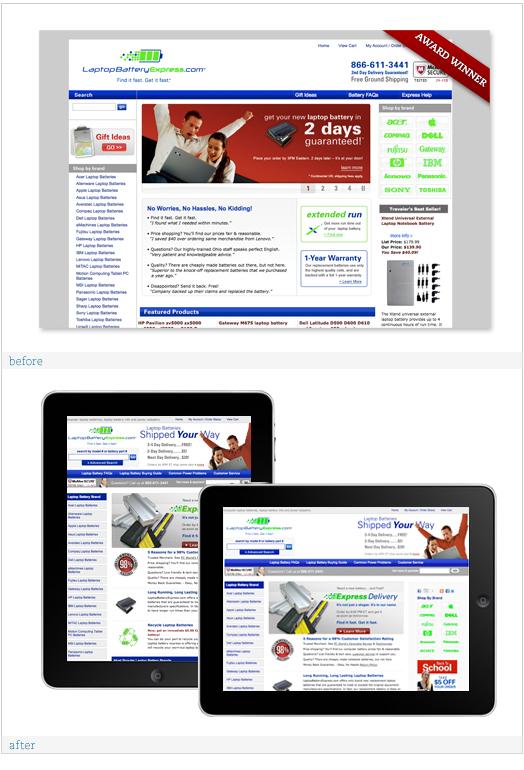 LaptopBatteryExpress.com Web Design Refresh